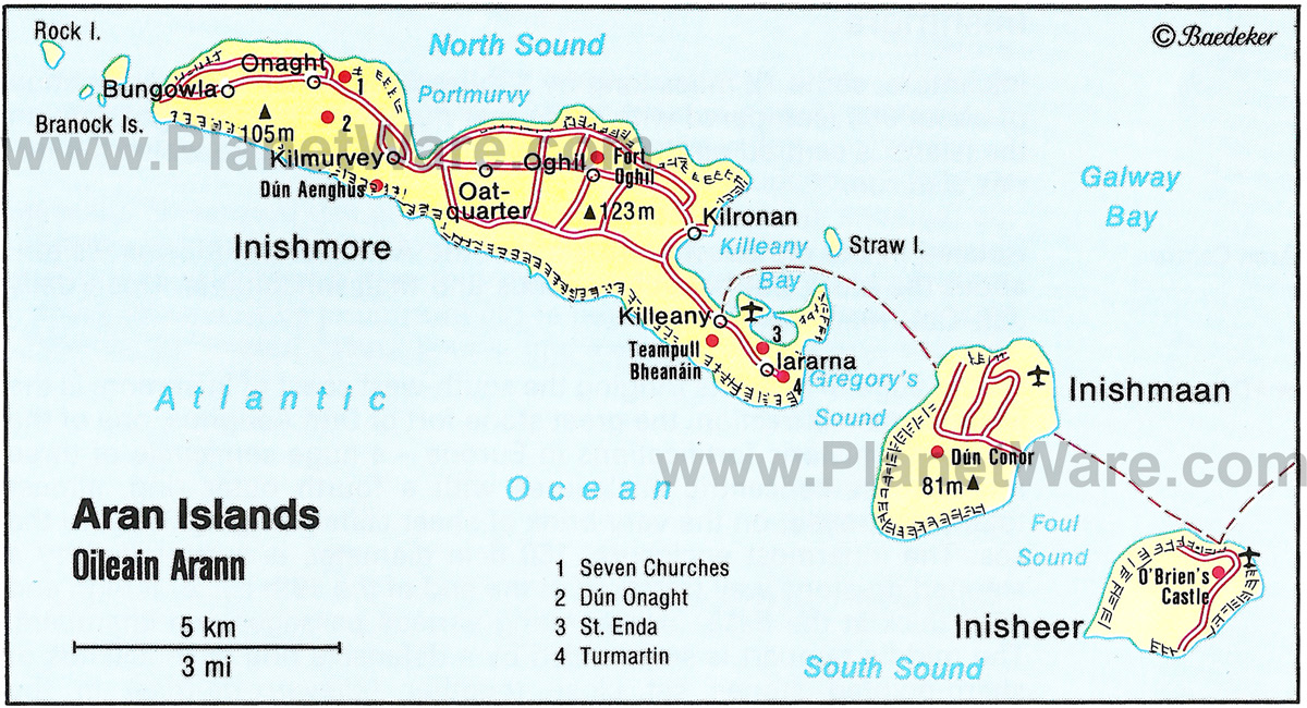 Map Inis Mor Aran Islands